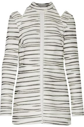 PROENZA SCHOULER Cutout frayed printed textured-crepe top
