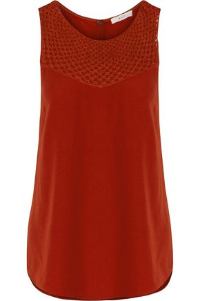 A.L.C. Quinn silk-blend crochet-paneled crepe de chine top