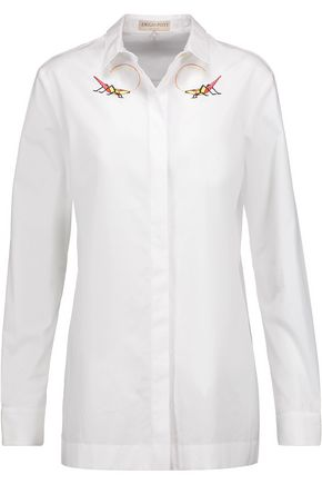 EMILIO PUCCI Embroidered cotton-poplin top