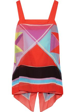 EMILIO PUCCI Draped printed cotton-gauze coverup