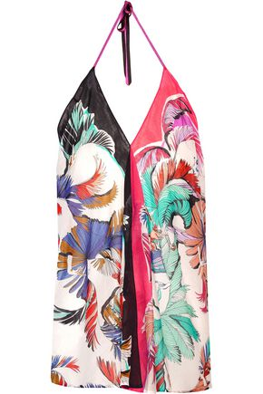 EMILIO PUCCI Pleated printed cotton-gauze halterneck coverup