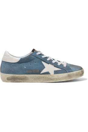 GOLDEN GOOSE DELUXE BRAND Distressed leather-trimmed suede sneakers