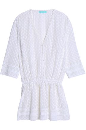 MELISSA ODABASH Gathered embroidered georgette coverup