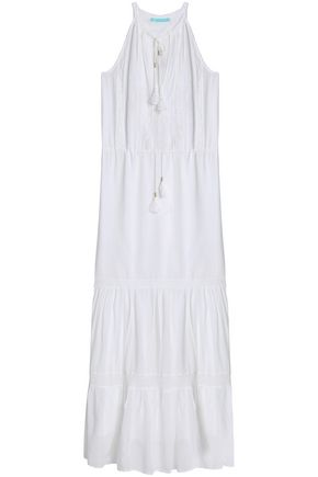 MELISSA ODABASH Crochet-trimmed voile maxi dress