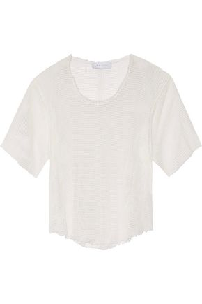 IRO.JEANS Shaun frayed open-knit cotton top