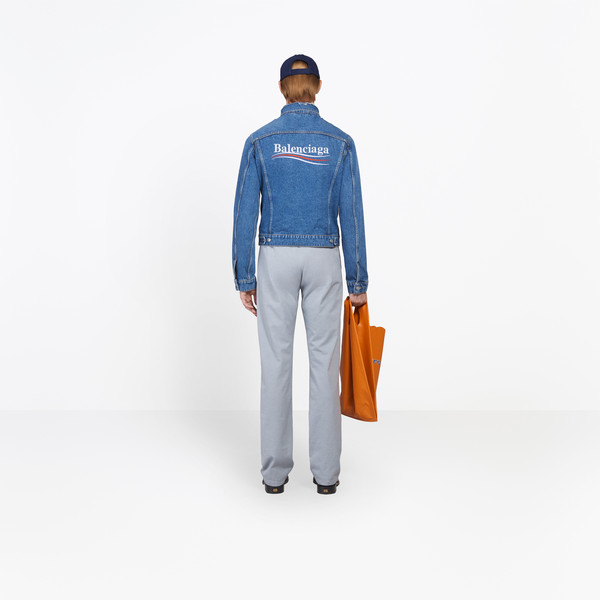 BALENCIAGA Denim Man Classic Denim Embroidered Jacket h