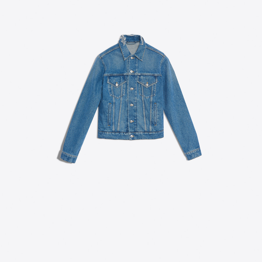 BALENCIAGA Classic Denim Embroidered Jacket Denim Man f