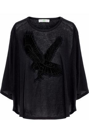 STELLA McCARTNEY Flocked slub cotton-jersey top