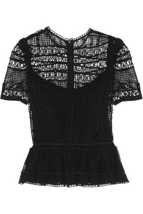 ERDEM Alma crocheted lace peplum top