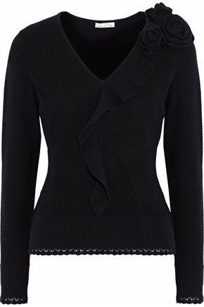 OSCAR DE LA RENTA Ruffled floral-appliquéd wool and cashmere-blend sweater