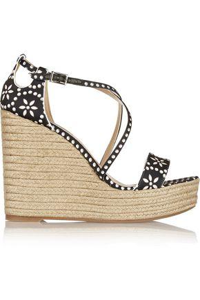 TABITHA SIMMONS Jenny printed satin espadrille wedge sandals