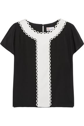 REDValentino Paneled silk crepe de chine top