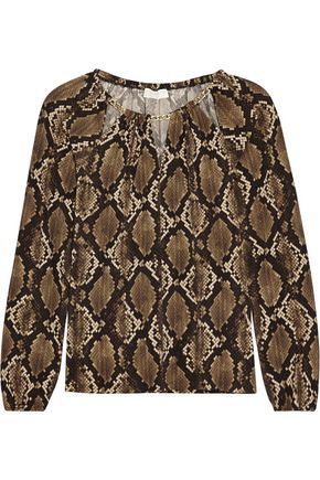 MICHAEL MICHAEL KORS Chain-trimmed snake-print jersey top