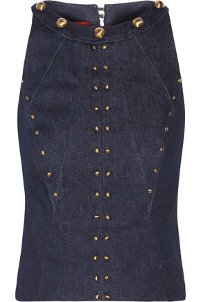 TAMARA MELLON Cropped studded stretch-denim top