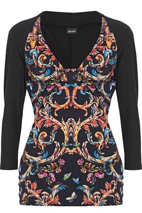 JUST CAVALLI Printed paneled stretch-knit top