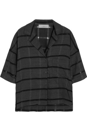 STUDIO NICHOLSON Lewis striped wool, cotton and silk-blend shirt