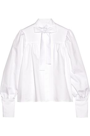 J.W.ANDERSON Pussy-bow cotton-drill blouse