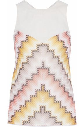 MISSONI Organza-paneled printed knitted top