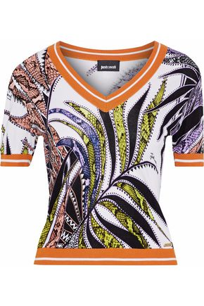JUST CAVALLI Printed jersey top