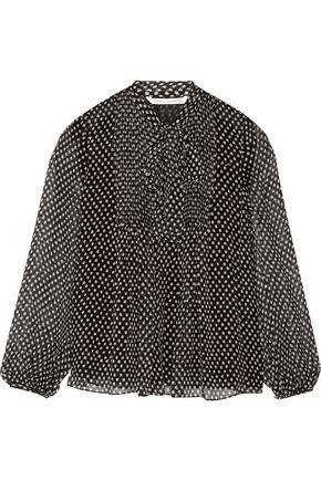 DIANE VON FURSTENBERG Marjorie pussy-bow printed silk-chiffon blouse