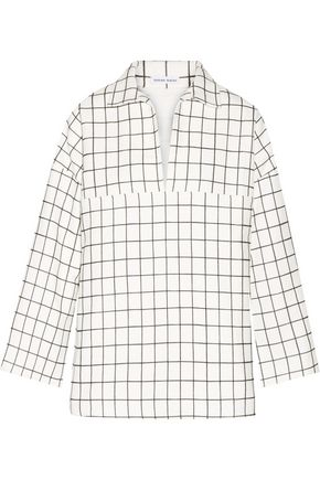 TOMAS MAIER Checked brushed-cotton top