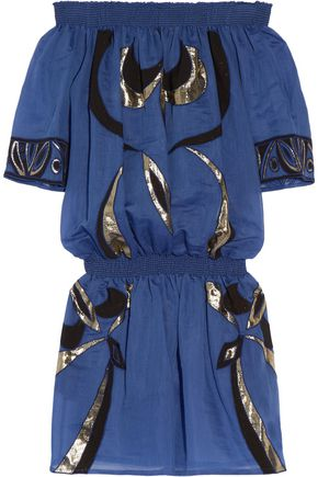 EMILIO PUCCI Embroidered cotton and silk-blend coverup