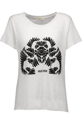 MAJE Mesh-trimmed cotton T-shirt