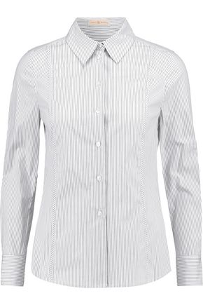 TORY BURCH Addie striped stretch-cotton poplin shirt