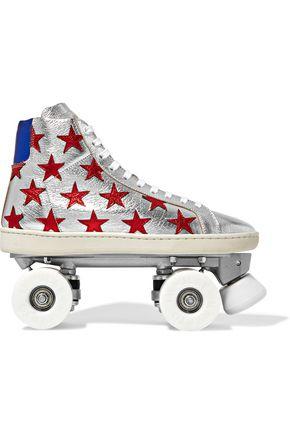 SAINT LAURENT Appliquéd metallic textured-leather roller skates