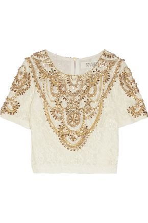 BADGLEY MISCHKA Embellished lace top