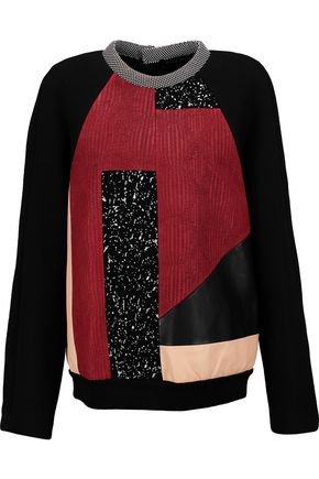 PROENZA SCHOULER Paneled printed crepe, leather and neoprene sweatshirt