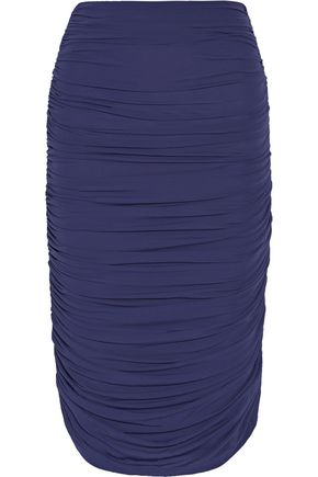 NORMA KAMALI Ruched stretch-jersey skirt