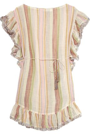 ZIMMERMANN Tropicale ruffled striped cotton and linen-blend mini dress