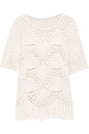 CHLOÉ Fringed crocheted cotton and silk-blend top
