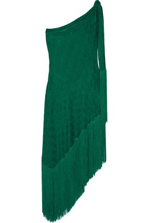 MISSONI Mare asymmetric one-shoulder fringed crochet-knit dress