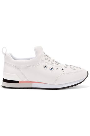 TORY BURCH Laney crystal-embellished leather slip-on sneakers