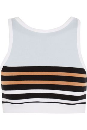 T by ALEXANDER WANG Striped stretch-cotton sports bra