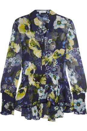 ERDEM Liya ruffled floral-print silk-georgette blouse