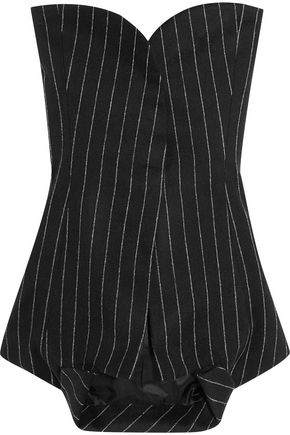MAISON MARGIELA Strapless pinstriped wool and angora-blend top