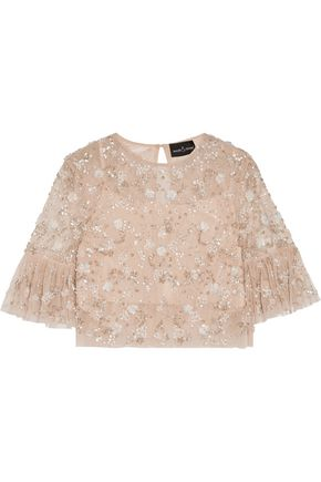 NEEDLE & THREAD Supernova cropped embellished tulle top