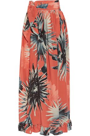 ADRIANA DEGREAS Floral-print silk crepe de chine skirt