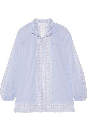 ZIMMERMANN Caravan crochet-trimmed striped cotton-voile blouse