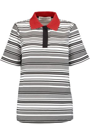 ÊTRE CÉCILE Striped cotton-jersey polo shirt