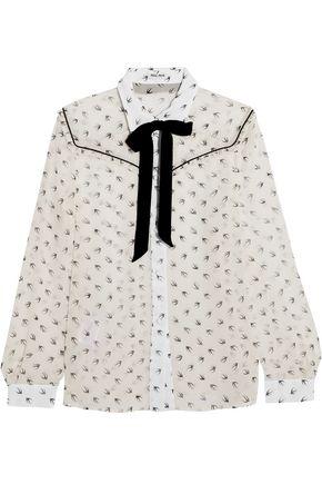 MIU MIU Ruffled printed silk-chiffon blouse