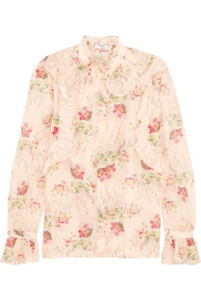 VILSHENKO Rhea ruffled printed cotton and silk-blend blouse