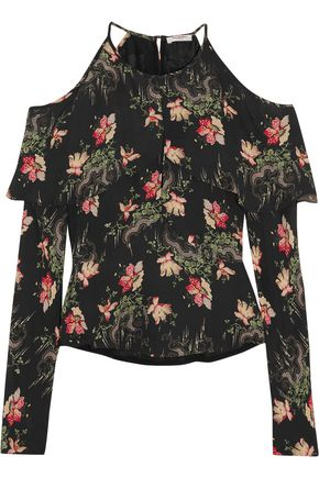 VILSHENKO Cold-shoulder floral-print silk crepe de chine blouse