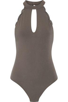 COSABELLA Lace-trimmed cotton-blend jersey bodysuit