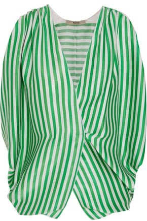 ETRO Wrap-effect striped ribbed silk top