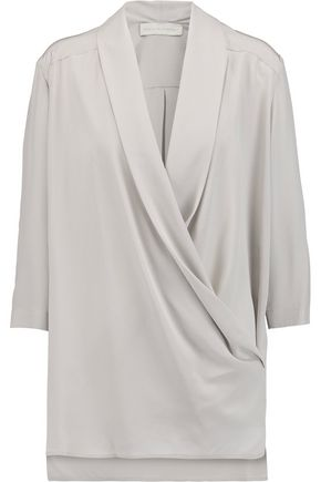 Online Store Discount Manchester Great Sale Stella Mccartney Woman Mora Wrap-effect Silk Blouse Gray Size 42 Stella McCartney Cheapest Online Cheap Price Fake 2018 For Sale 4YFRIp