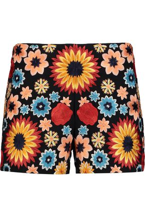 ALICE + OLIVIA Sherri embroidered cotton-blend twill shorts